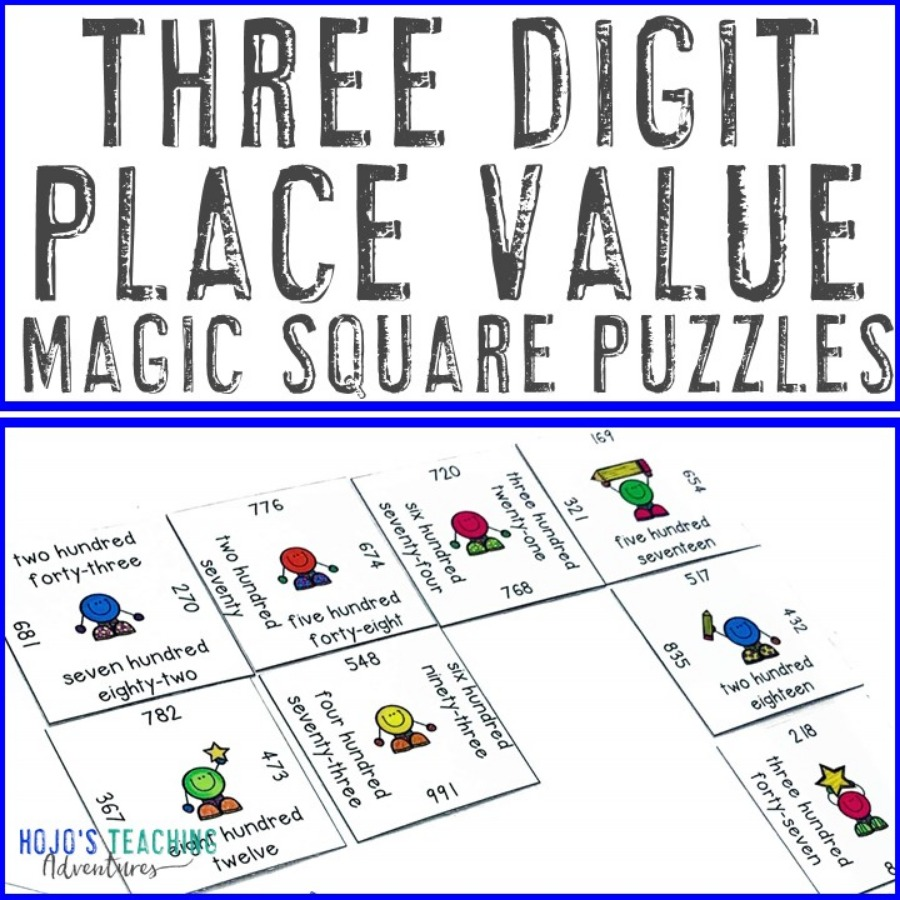 3 Digit Place Value Magic Square Puzzles