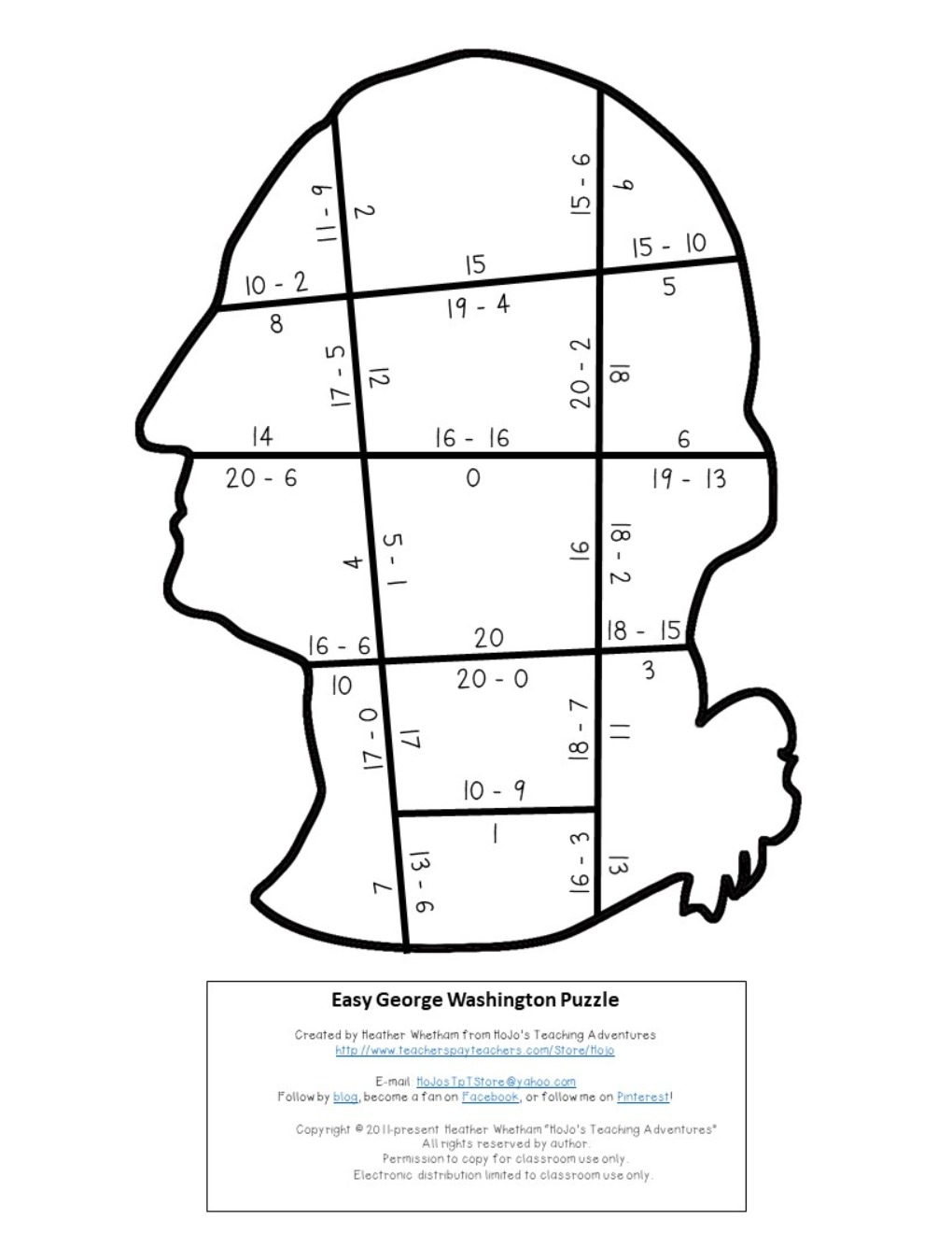 SUBTRACTION President George Washington Puzzles for 1st, 2nd, or 3rd Grade