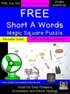 FREE Short A Words Magic Square Puzzle