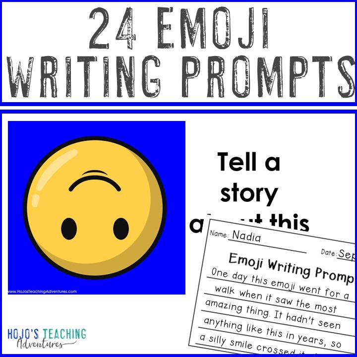 EDITABLE Emoji Writing Prompts for Elementary or Middle School