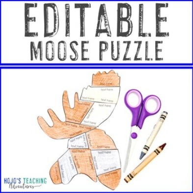 EDITABLE Moose Puzzle for Elementary or Middle School