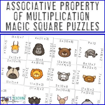 Associative Property of Multiplication Magic Square Puzzles