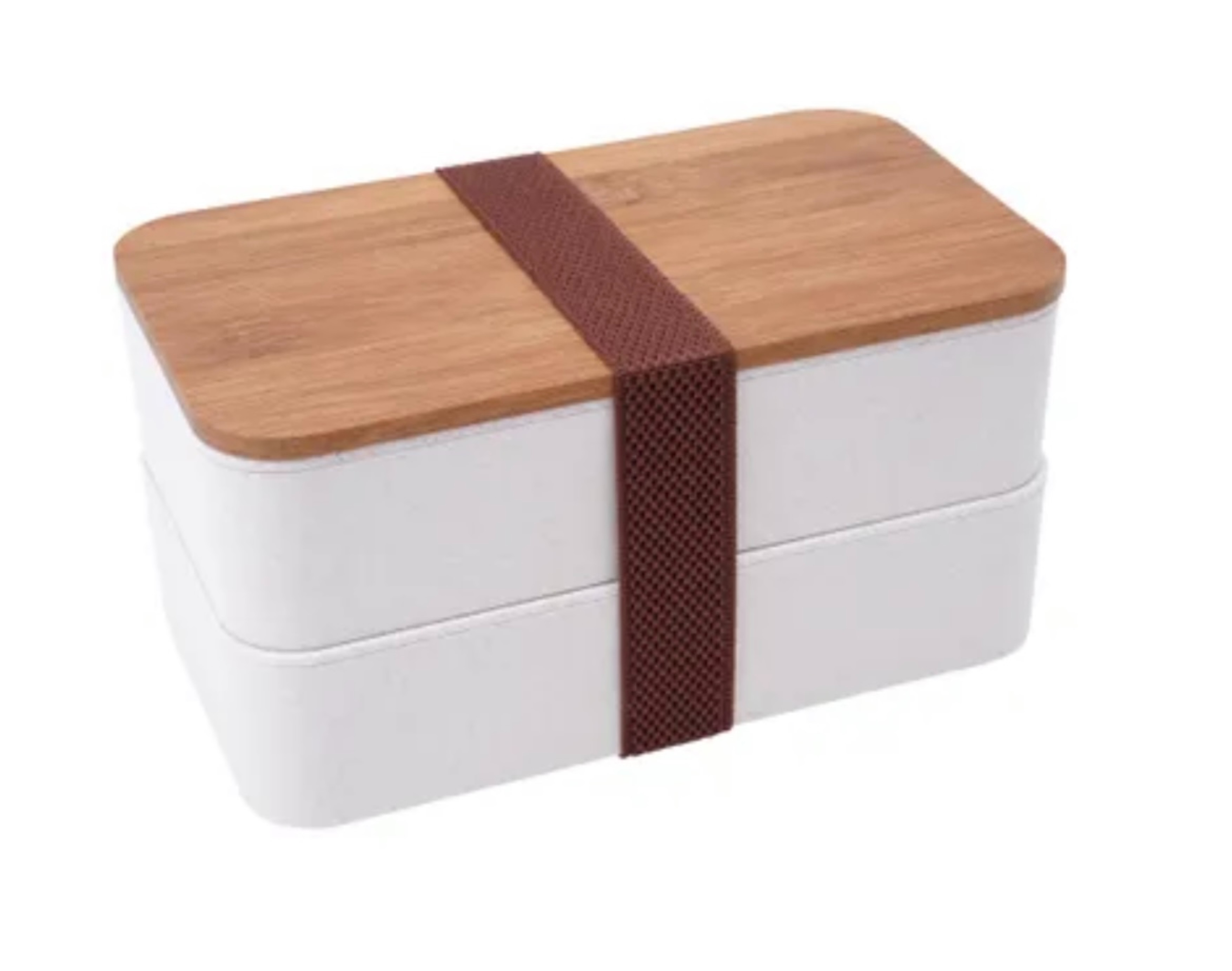 Bamboo Double Lunchbox with Cutlery (lid can be engraved/personalised) 9.5cmx18.5cm x10.8cm