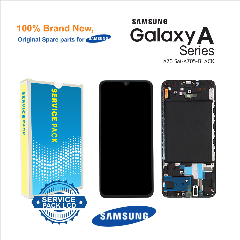 Samsung Galaxy A70 A705 Service Pack Black Full Frame Touch Screen Display + fitting