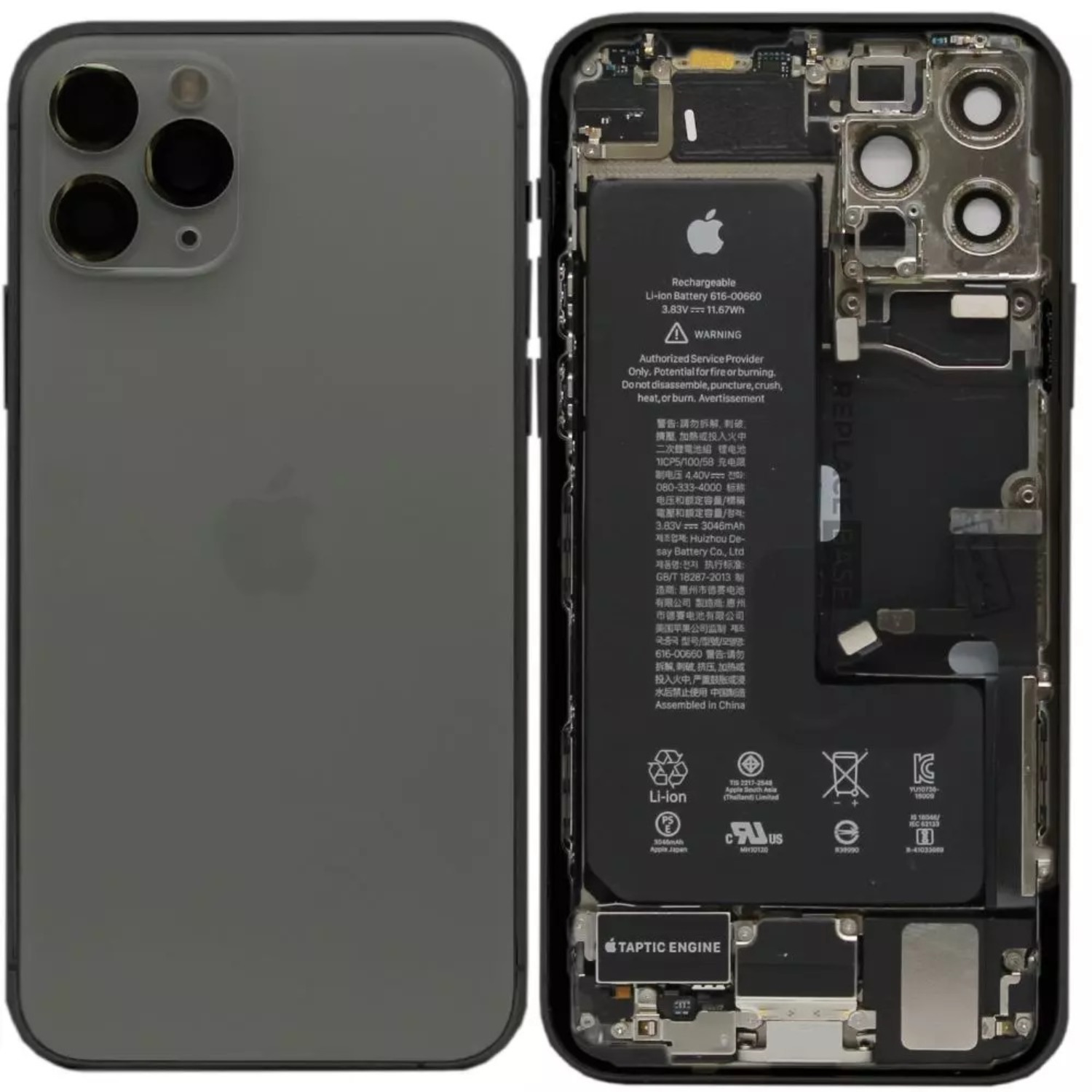 iPhone 11 Pro Replacement Genuine Rear / Back Housing Assembly With Battery | Original / Pull Black
