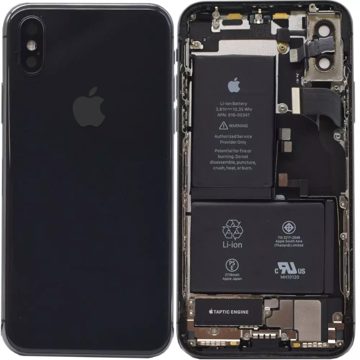 iPhone X Replacement Genuine Rear / Back Housing Assembly With Battery | Original / Pull | Black