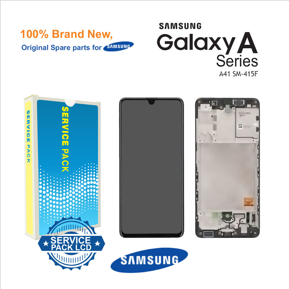Samsung Galaxy A41 A415 Service Pack Black Full Frame Touch Screen Display + Fitting