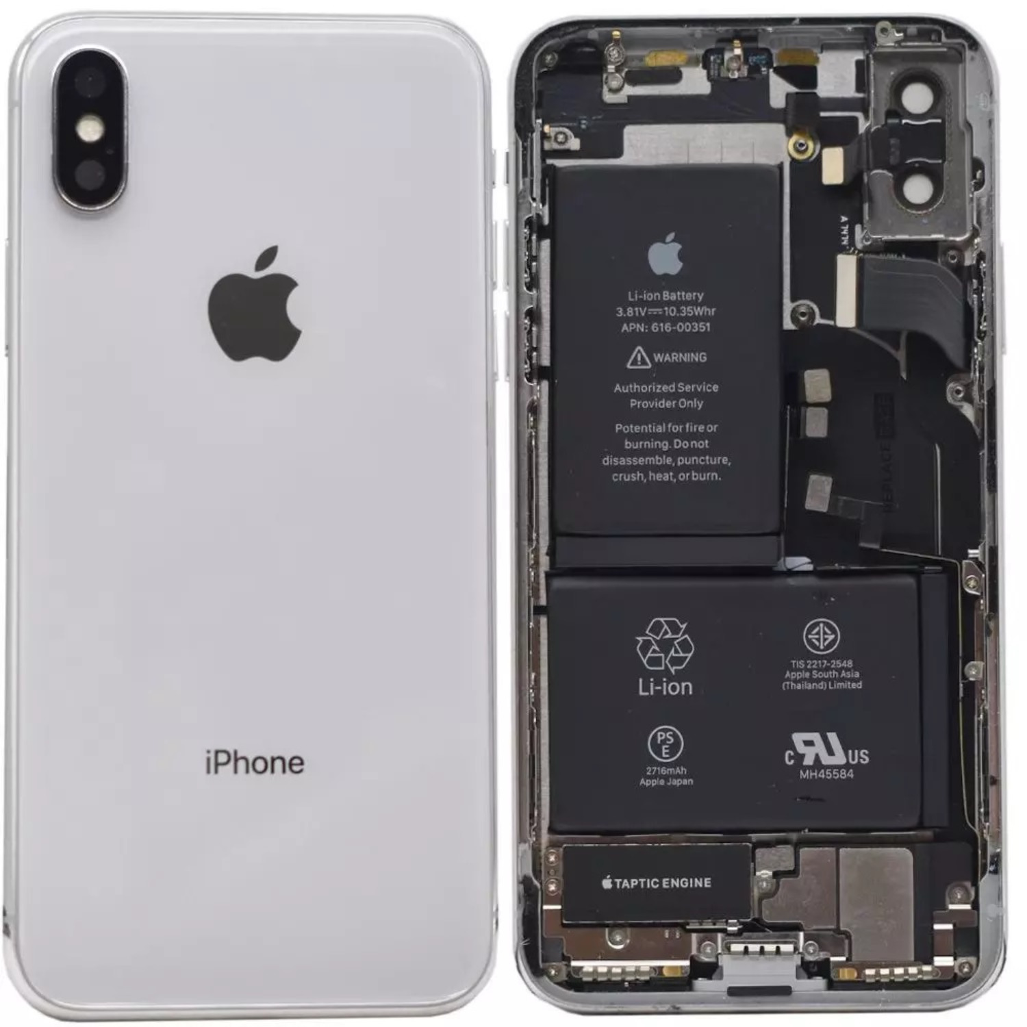 iPhone X Replacement Genuine Rear / Back Housing Assembly With Battery | Original / Pull | White