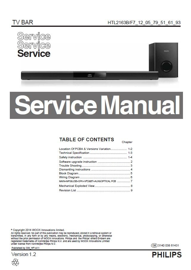 Philips HTL2163B Sound bar Service Manual and Repair Instructions
