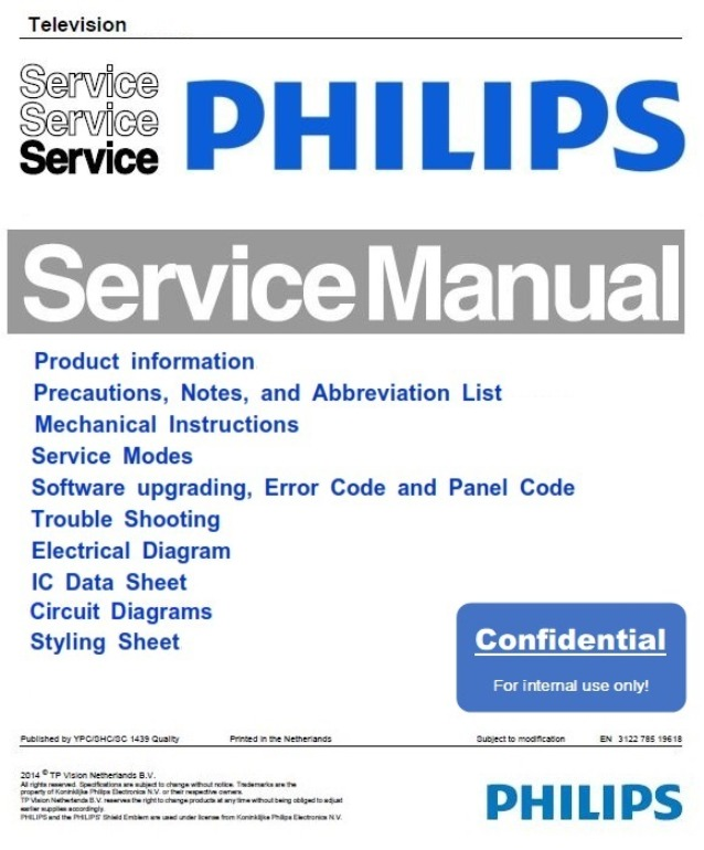 Philips 19MF338B 19PFL3403D 19MD358B TV Service Manual and Repair Instructions