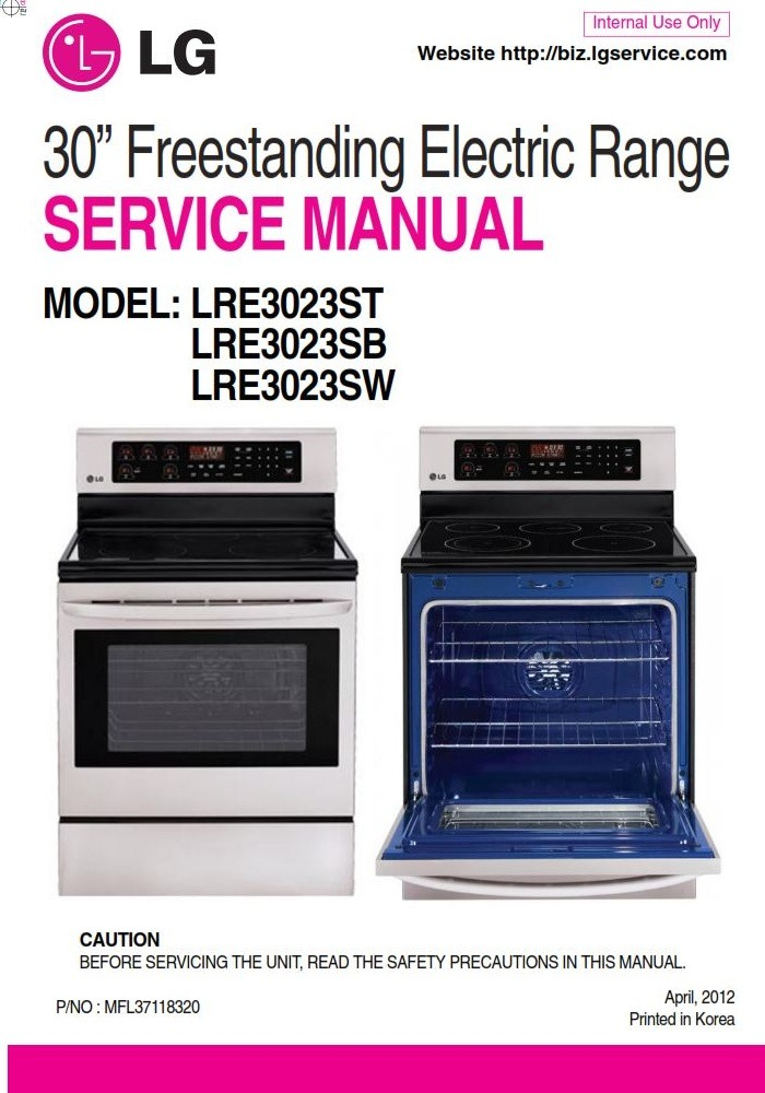 LG LRE3023ST LRE3023SB LRE3023SW Range Service Manual & Repair Guide