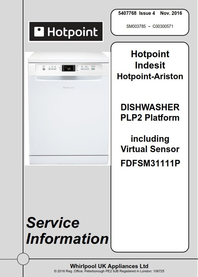 Hotpoint FDFSM 31111 P Dishwasher Service Manual & Technicians Guide