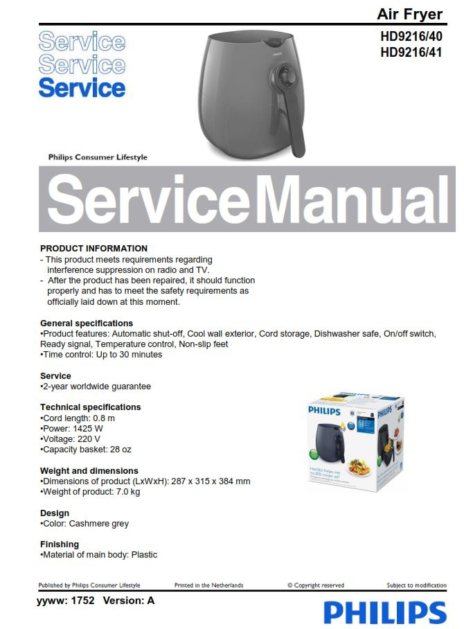 Philips Airfryer HD9216 (40 + 41 series) Service Manual Free download!