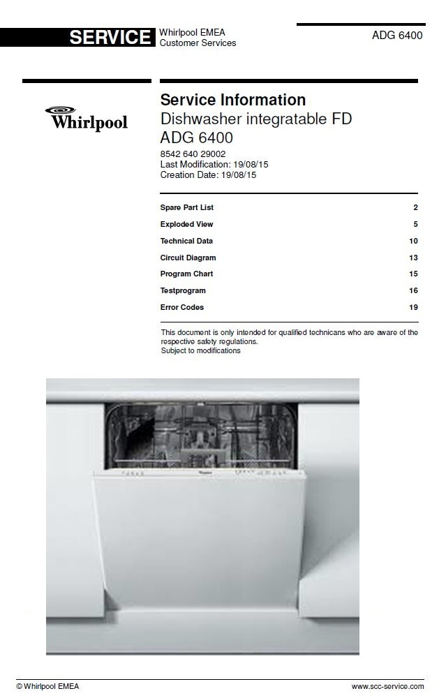 Whirlpool ADG 6400 Dishwasher Service Information Manual & Technicians Guide