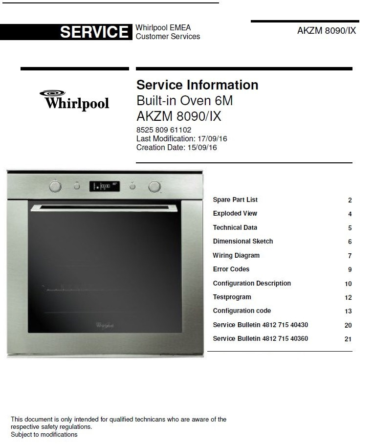 Whirlpool AKZM 8090 IX Built-in Oven Service Manual and Technicians Guide