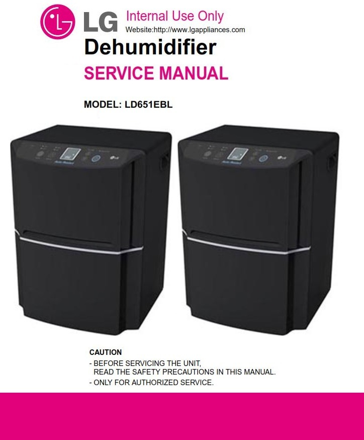 LG LD651EBL Dehumidifier Service Manual and Troubleshooting Guide