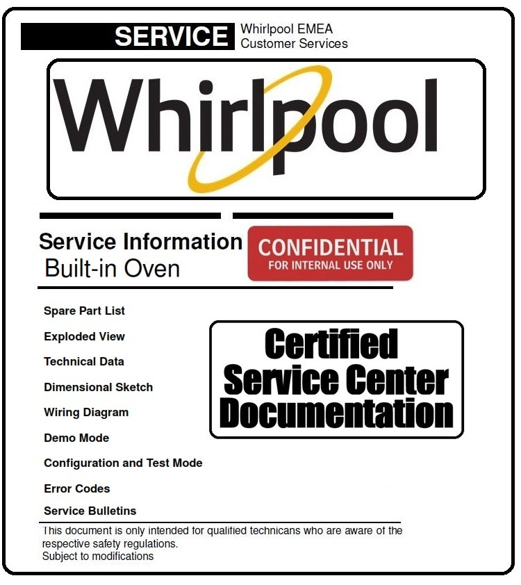 Whirlpool AKZ 244 WH Built-in Oven Service Manual and Technicians Guide