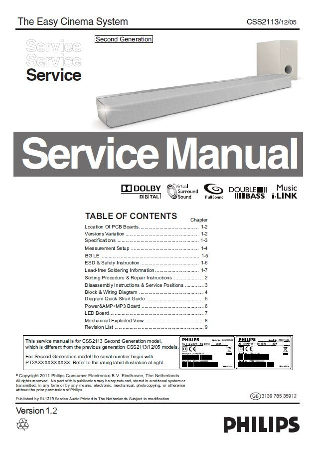 Philips CSS2113 Sound bar System Service & Repair Manual