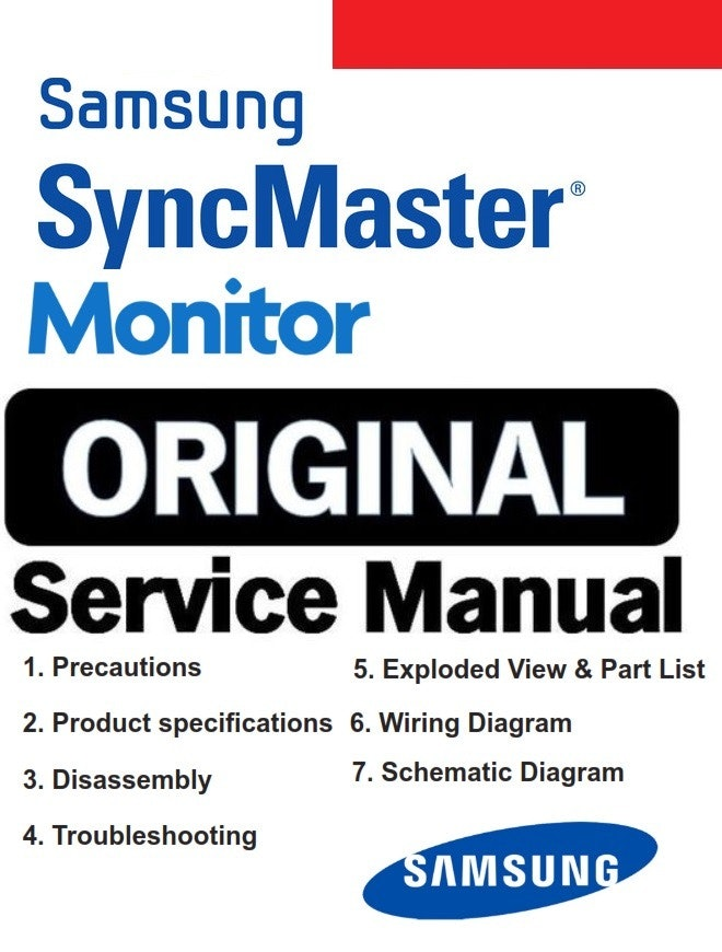 Samsung SyncMaster 181T Monitor Service Manual and Repair Guide
