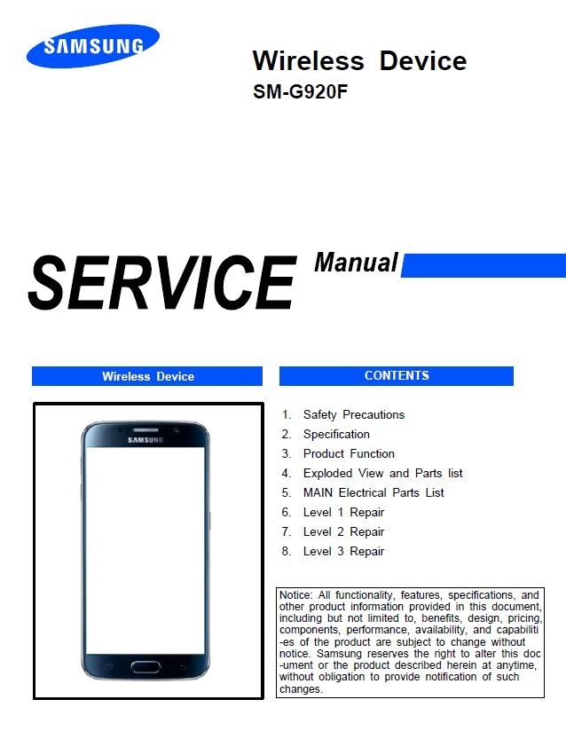 Samsung Galaxy S6 SM G920F Service Manual and Repair Guide