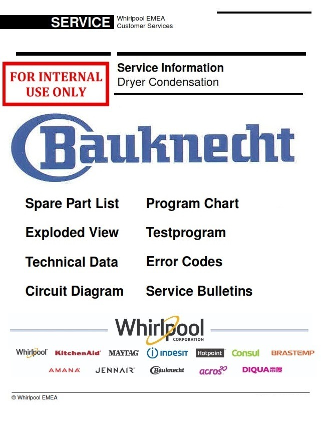 Bauknecht TK Care 16B Dryer Service Manual and Technicians Guide