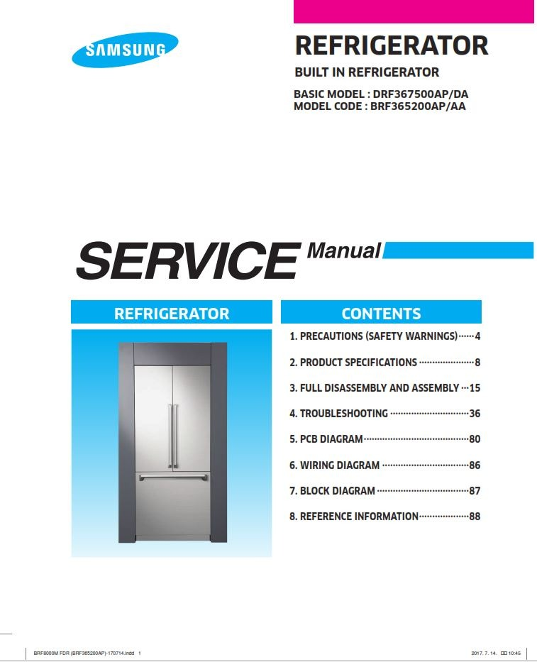 Samsung BRF365200A Refrigerator Service Manual and Technicians Guide