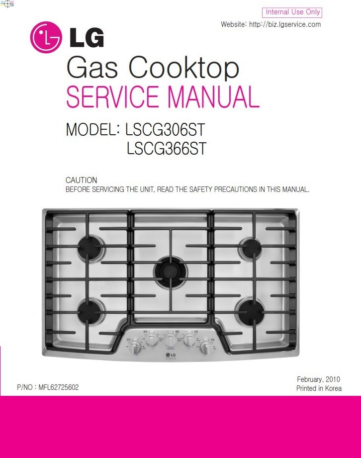 LG LSCG306ST LSCG366ST Cooktop Service Manual and Technicians Guide