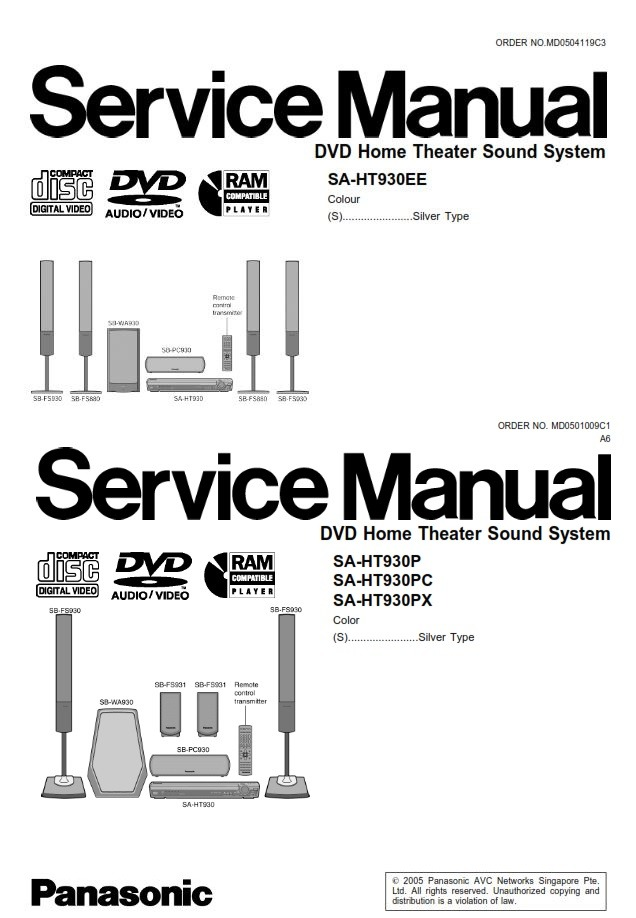 Panasonic SC HT930 Home Theater System Service Manual and Repair Guide