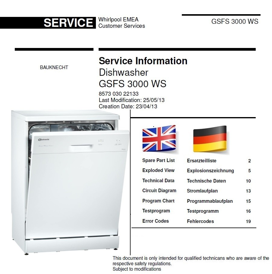 Bauknecht GSFS 3000 WS Dishwasher Service Manual and Technicians Guide