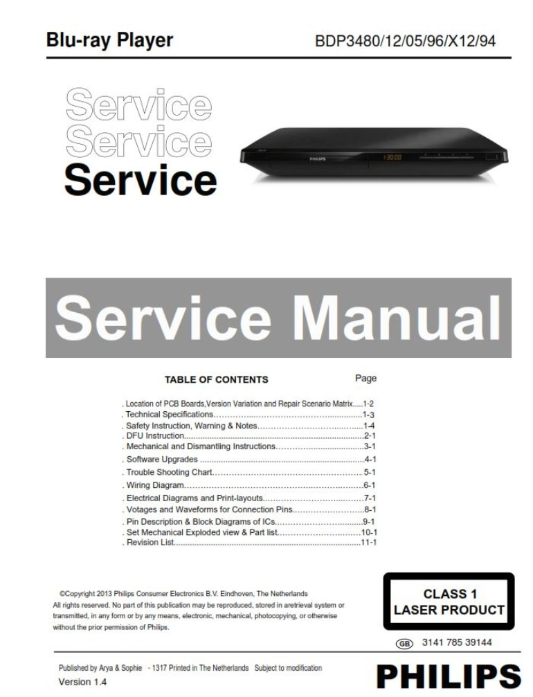 Philips BDP3480 Blu Ray Player Service Manual & Repair Instructions