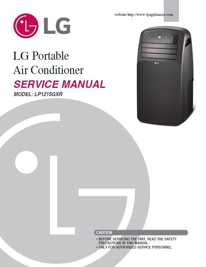 LG LP1215GXR Portable Air Conditioner Service Manual and Repair Guide