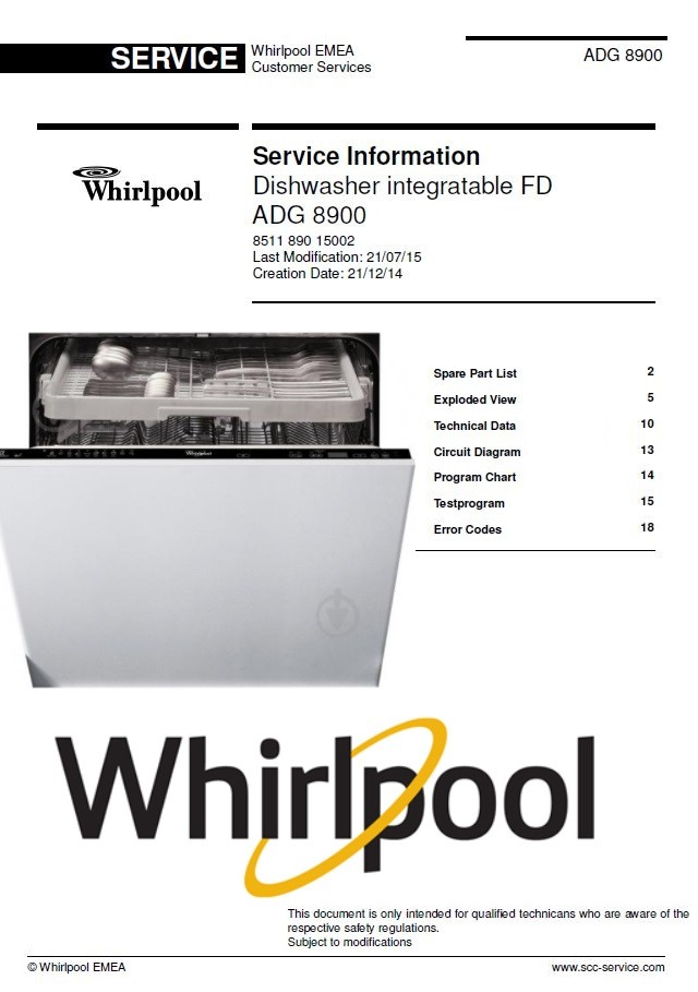 Whirlpool ADG 8900 Dishwasher Service Information Manual & Technicians Guide