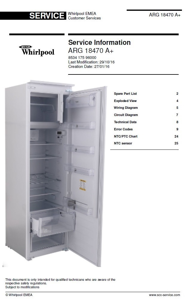 Whirlpool ARG 18470 A+ Refrigerator Service Information Manual & Technicians Guide