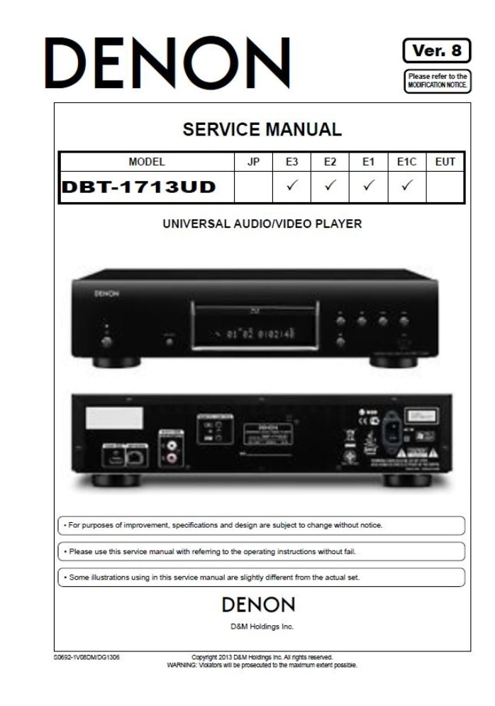 Denon DBP-1713UD Blu Ray Player Service Manual and Repair Guide