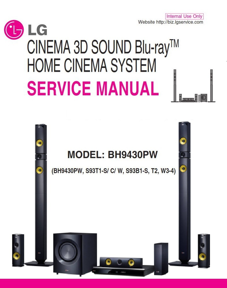 LG BH9430PW Home Cinema System Original Service Manual and Repair Instructions