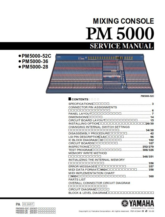 Yamaha PM5000 Mixing Console Service Manual and Repair Guide