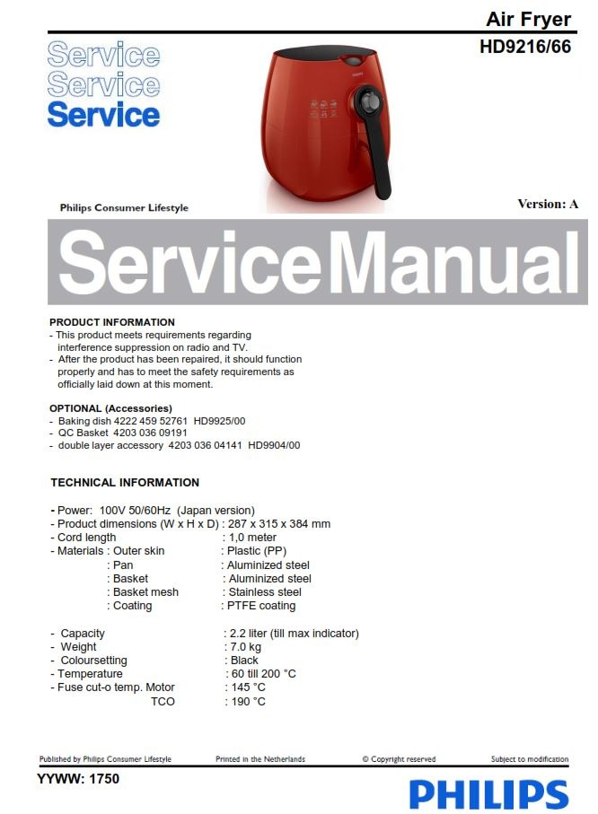 Philips Airfryer HD9216/66 Service Manual Free download!