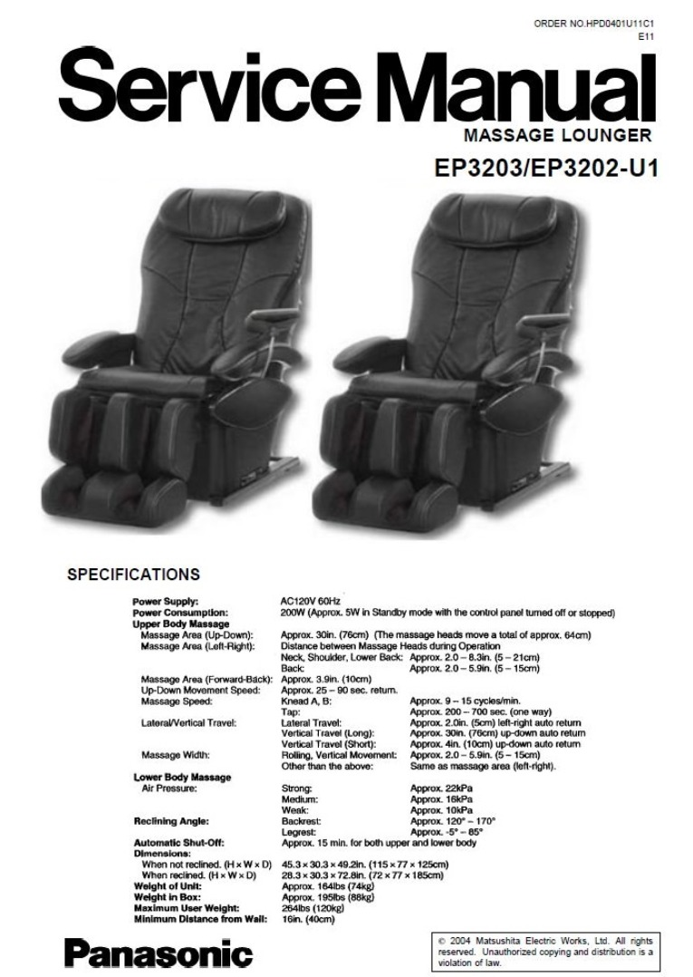 Panasonic EP3203 EP3202 Massage Lounger Chair Service Manual and Repair Guide