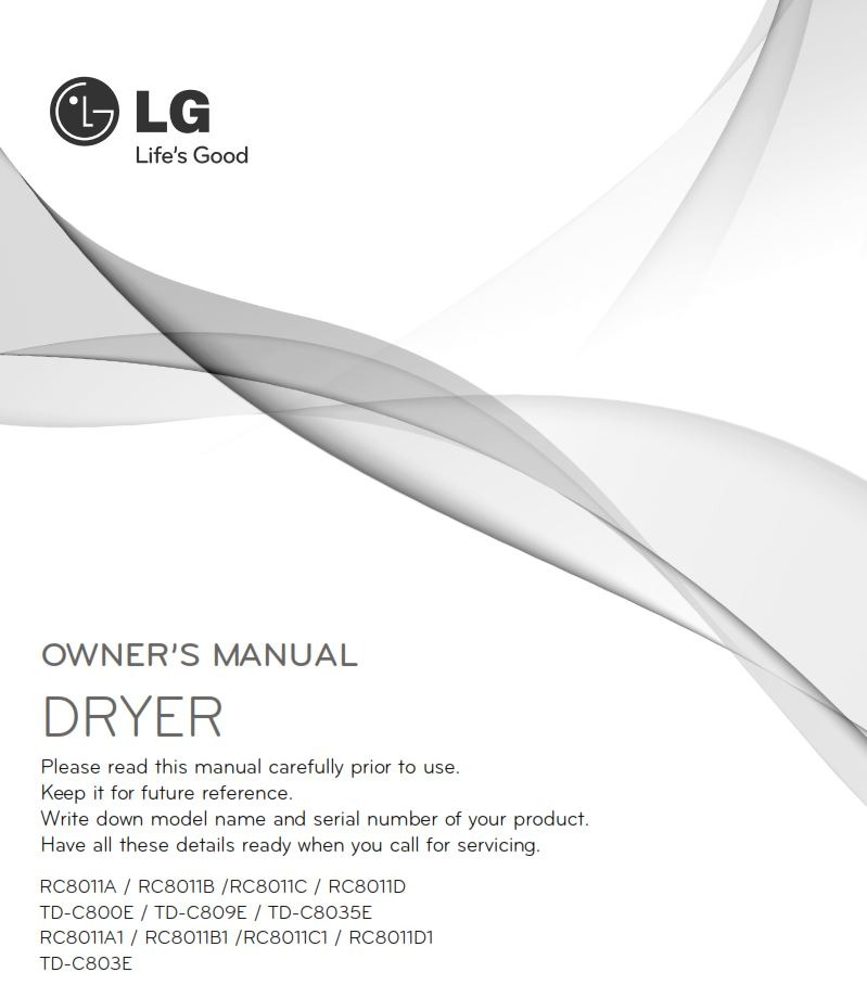FREE: LG TD C803E Condensing Dryer User, Owne/Instructions Manual