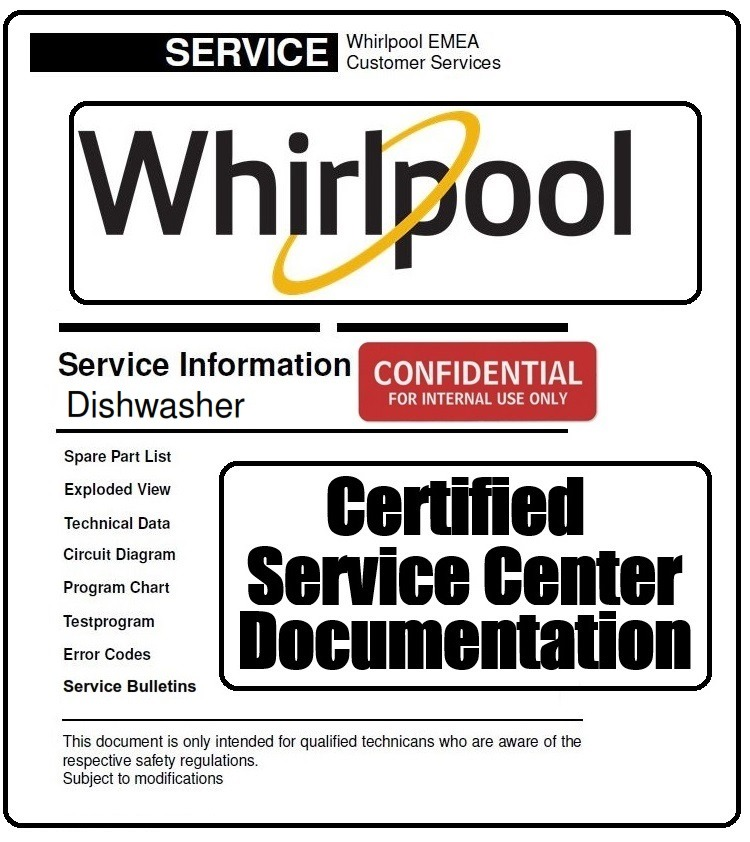 Whirlpool ADG 1077 Dishwasher Service Information Manual & Technicians Guide
