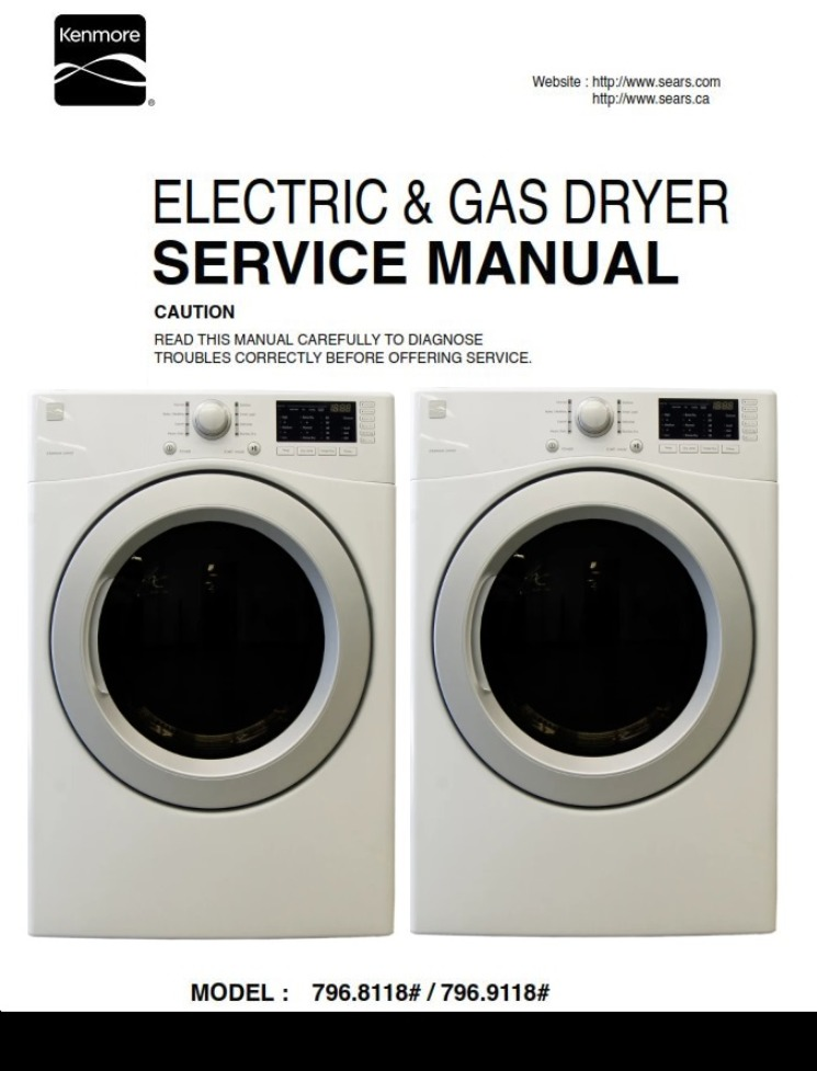 Kenmore 81182 91182 Dryer Service Manual and Technicians Guide