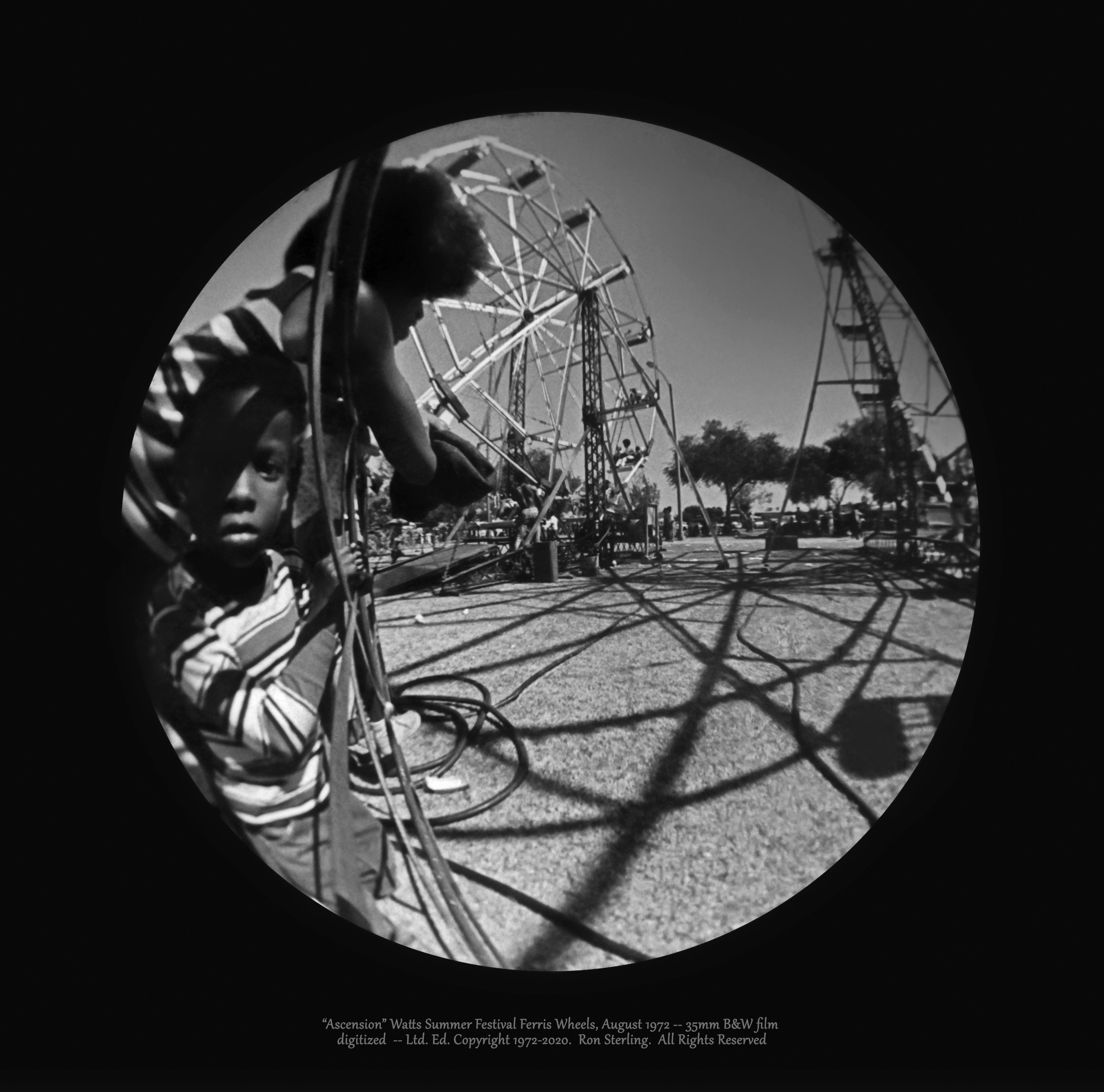 """""""Ascension.""""  The Ferris Wheel World at the 1972 Watts Summer Festival. Orig. Signed Photograph"""