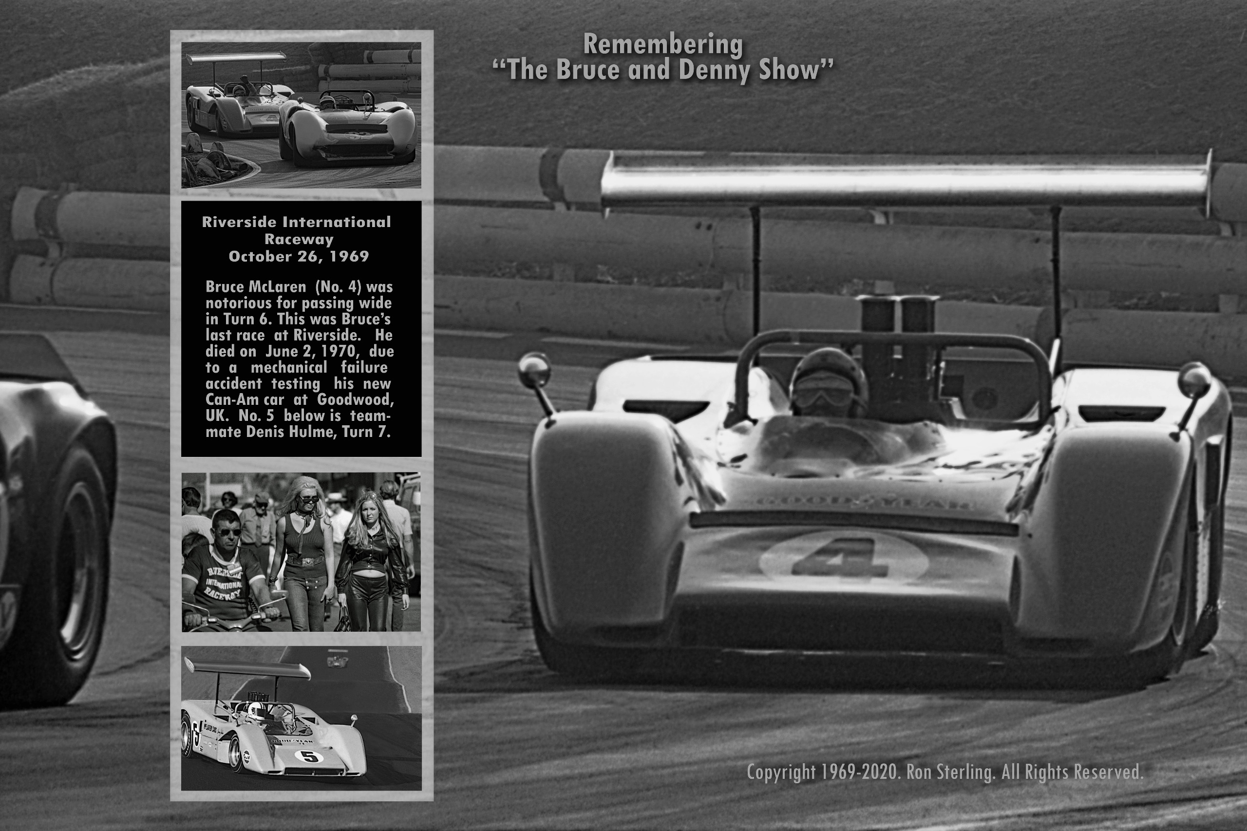 VF Orig. Print Signed by Photographer of  Bruce McLaren, Turn 6, 10/26/1969, With Insets