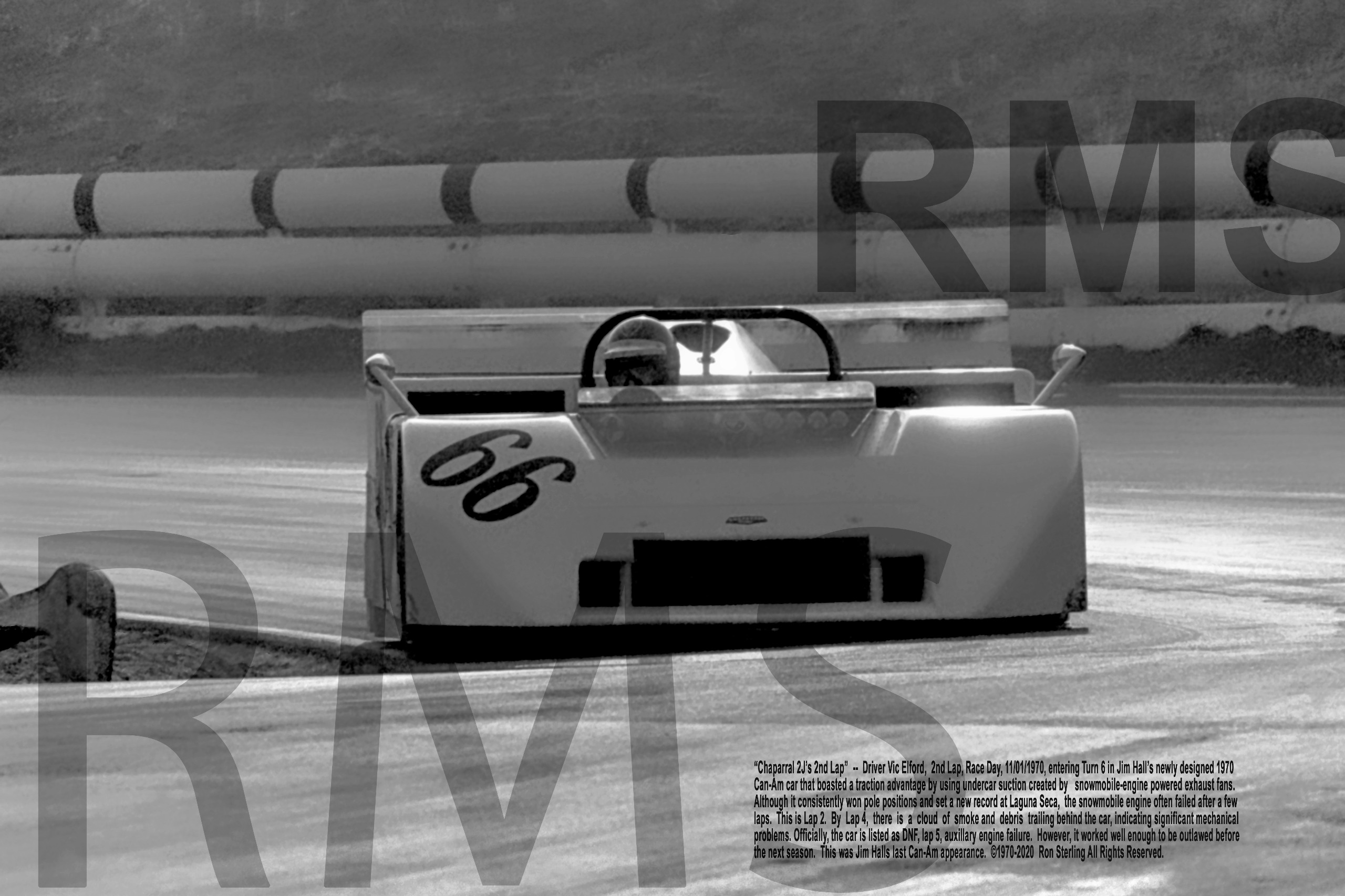 Original Print from Rare 35mm Photo of Jim Hall Chaparral 2J's Last Race Lap 2 1970 Riverside Can-Am