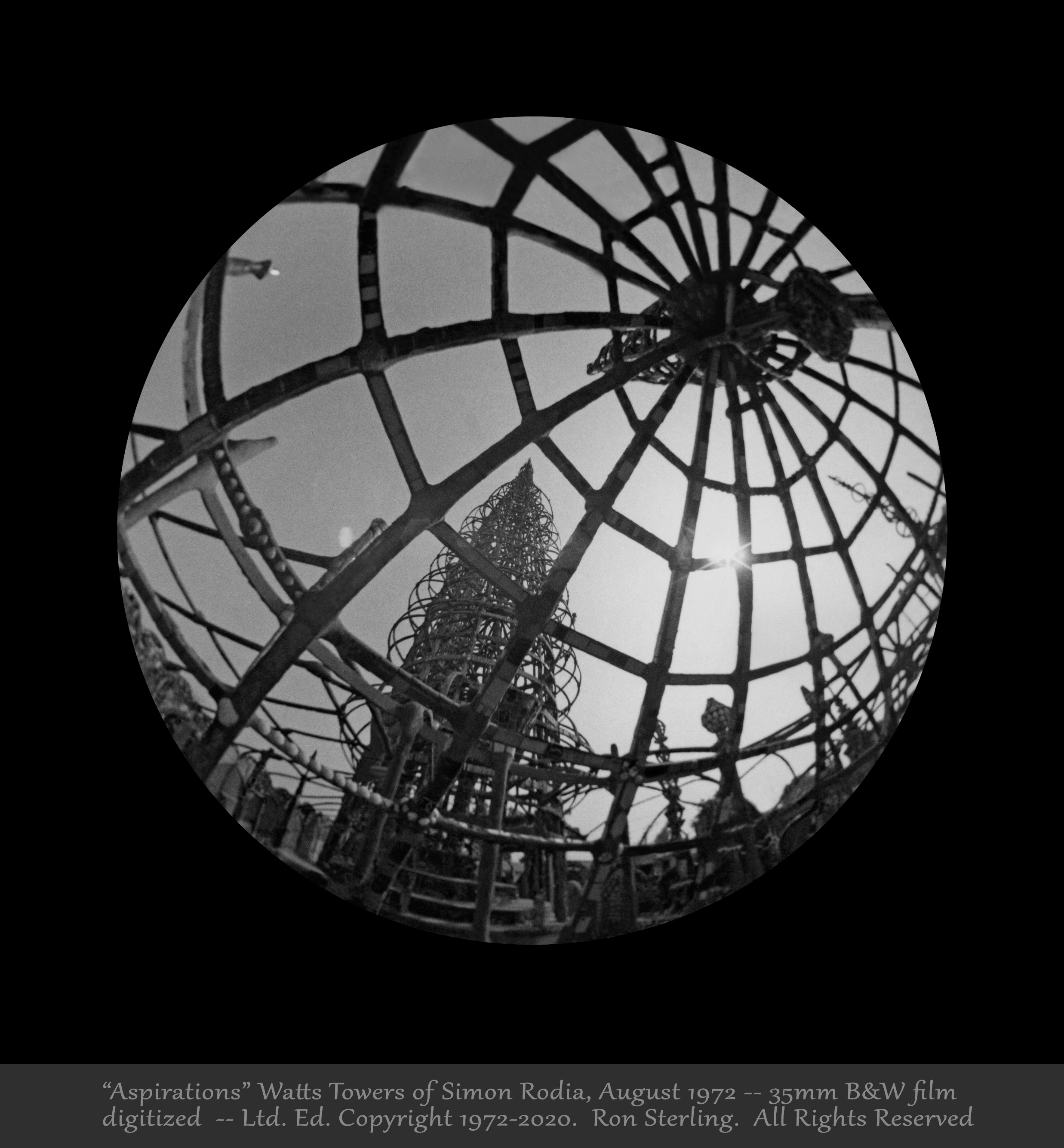 """""""Aspirations.""""  Original Print of Photograph Revealing an Essential Meaning of Simon Rodia's Towers"""