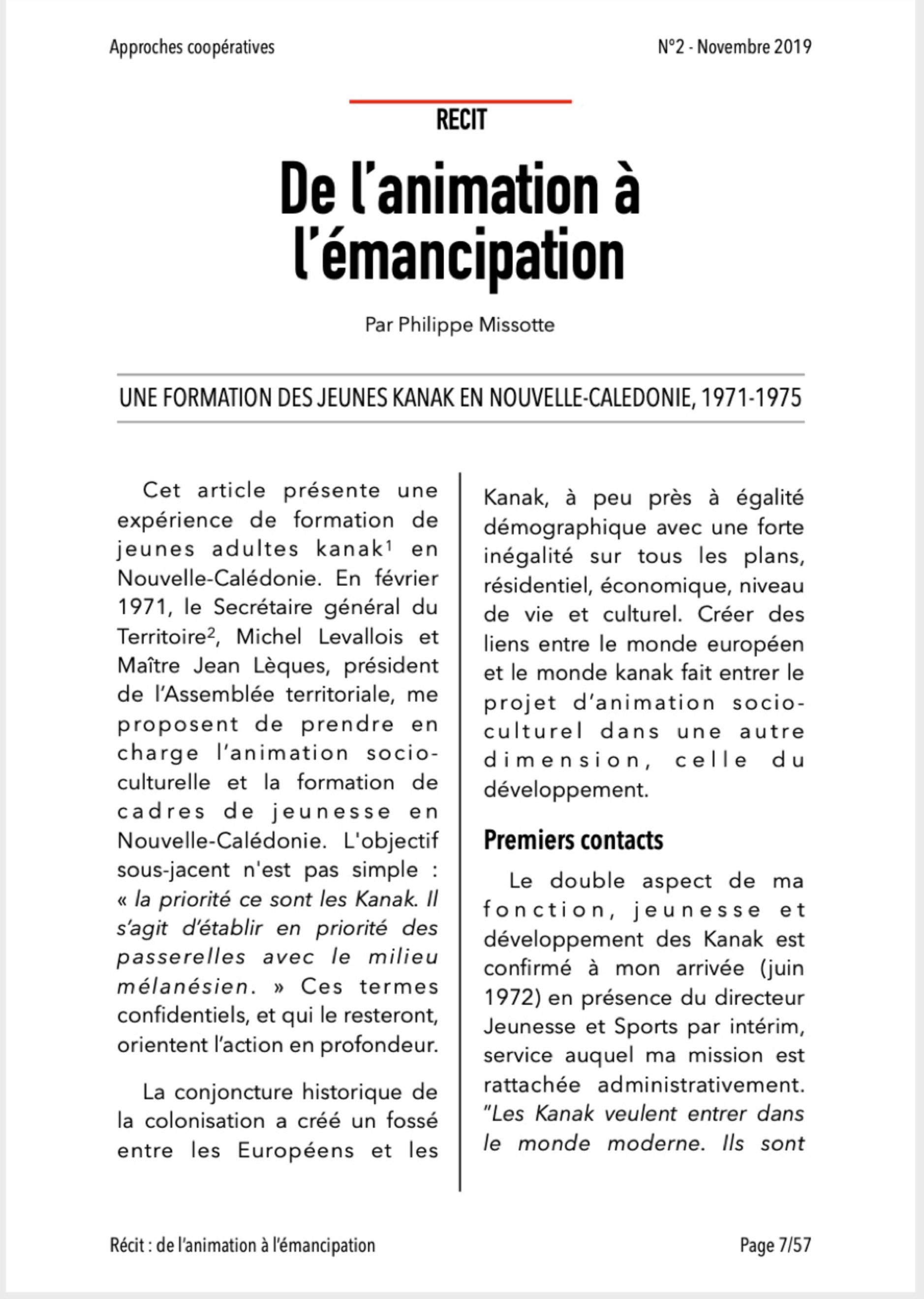 Approches Coopératives N° 2.