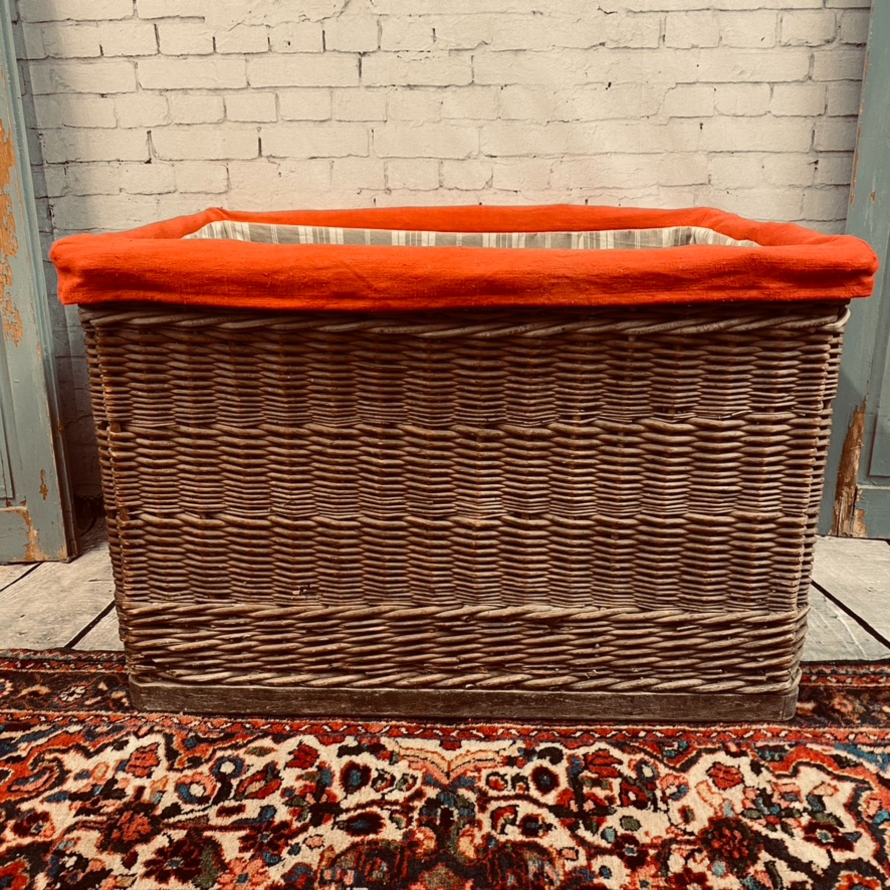Large lined vintage basket
