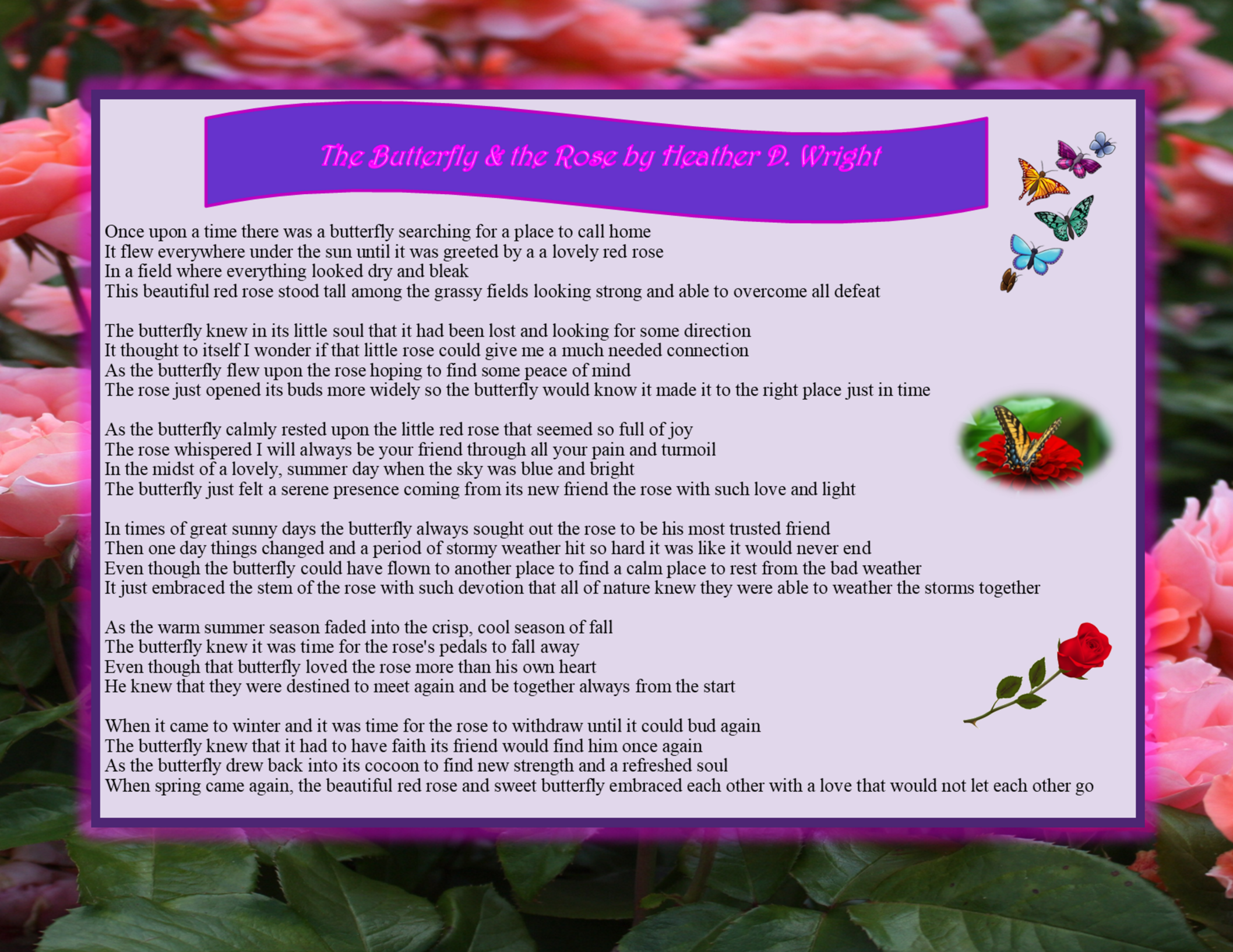 The Butterfly and The Rose - Printable Digital Download