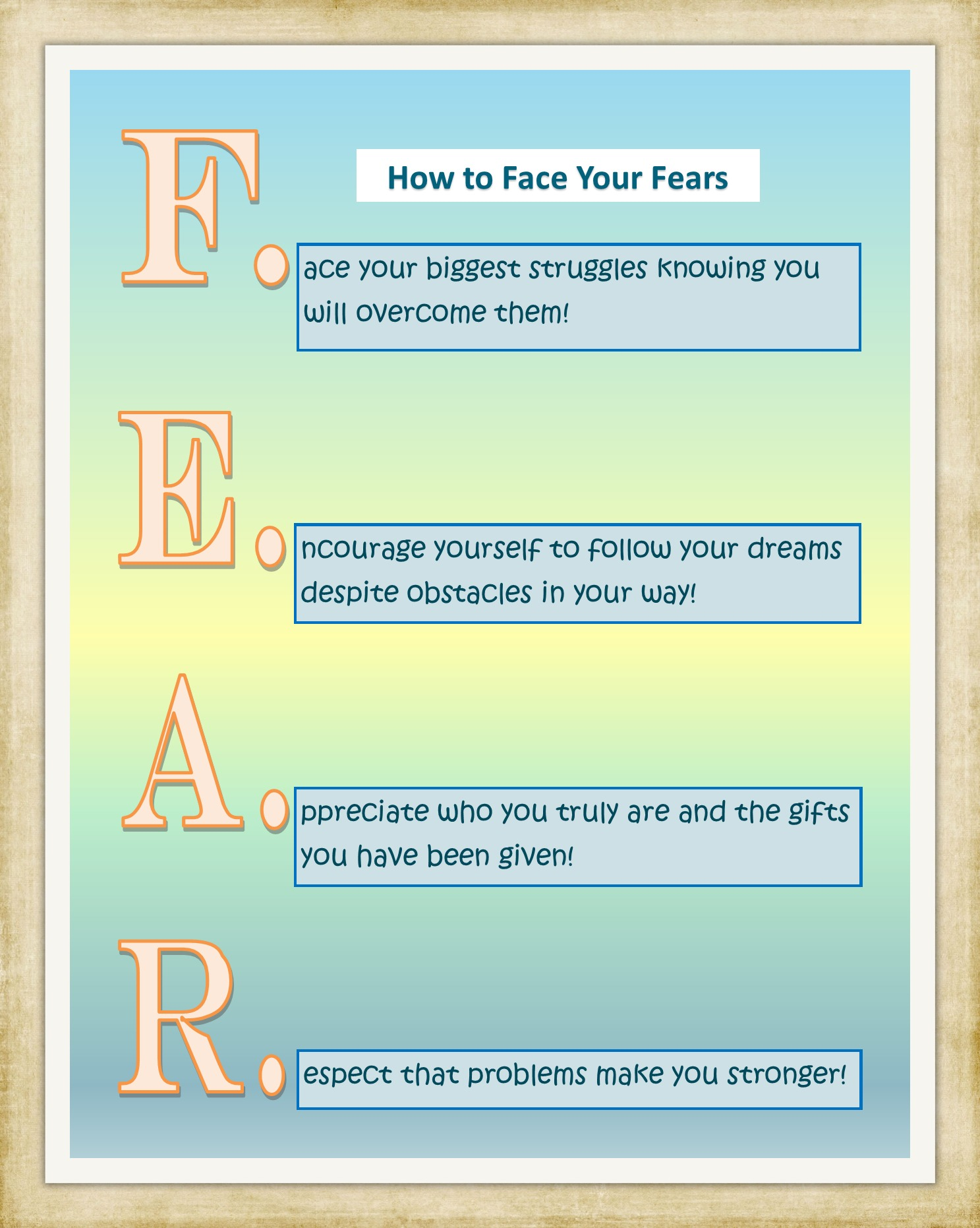 Fear Poster - Printable Inspirational Art Download