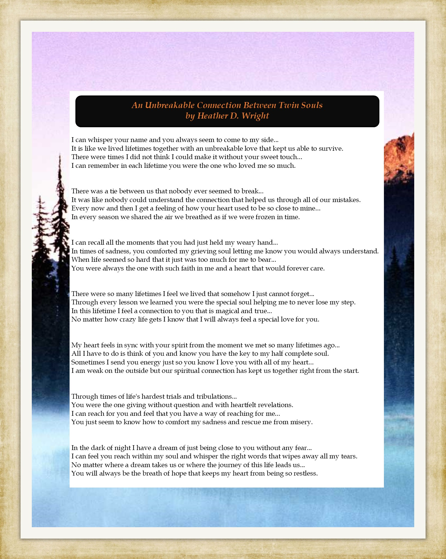 An Unbreakable Connection Between Twin Souls - Printable Instant Download
